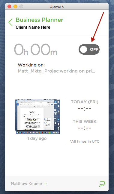 Billing time to Upwork client