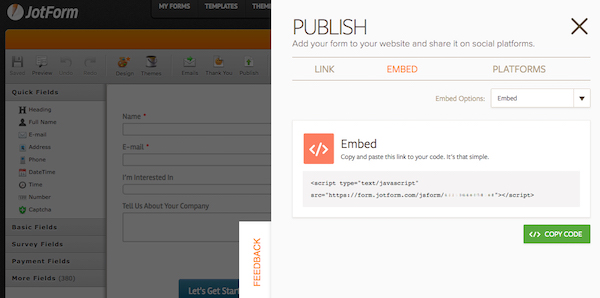 embed web form