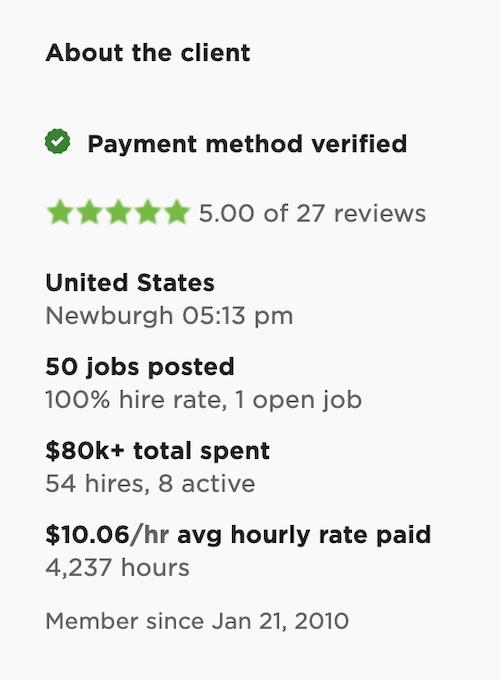 Upwork Client Feedback Score