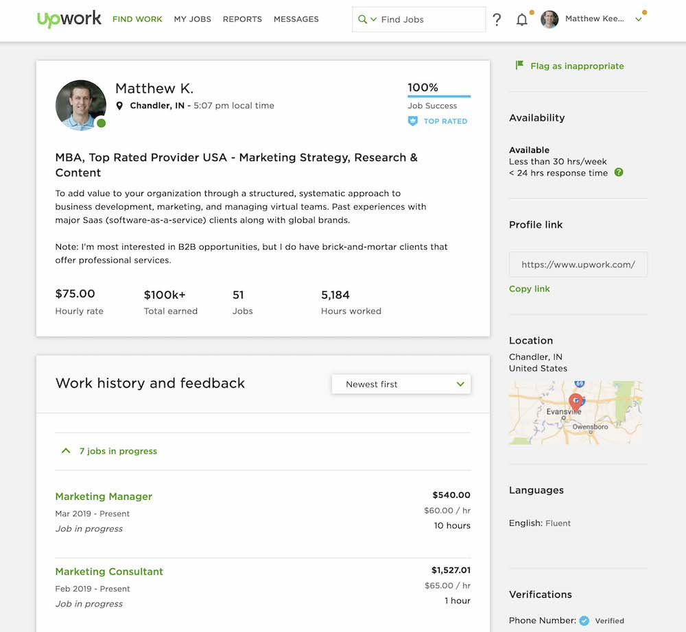 Upwork Freelancer Profile