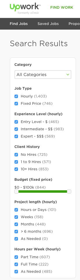 Upwork Job Filters