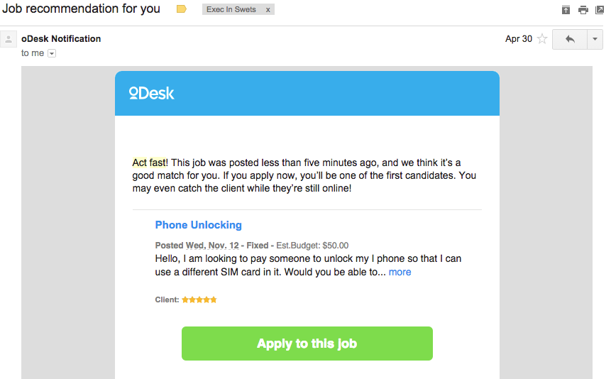 odesk act fast invitation