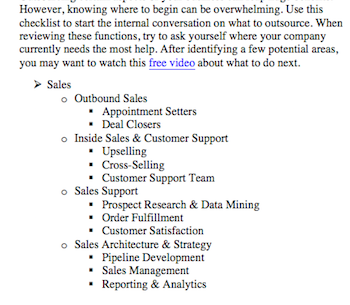 outsourcing planning checklist