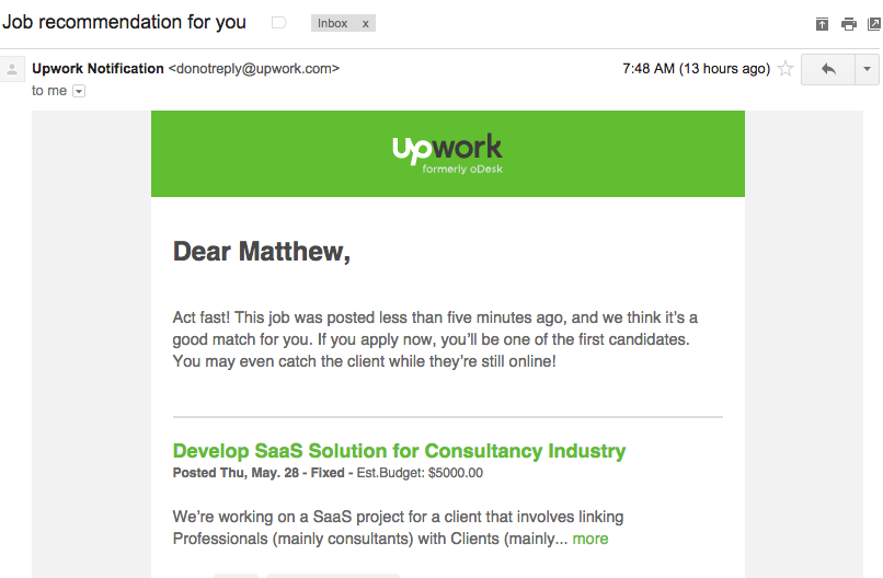 upwork act fast