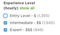 upwork experience level freelancers