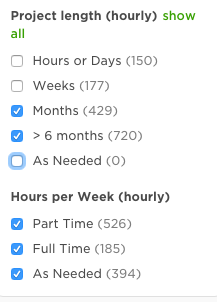 upwork project length hours