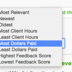 upwork sort most dollars paid freelance jobs